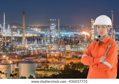 technician and Oil Industry Refinery factory at Sunset, Petroleum, petrochemical plant, Oil refinery industry - stock photo
