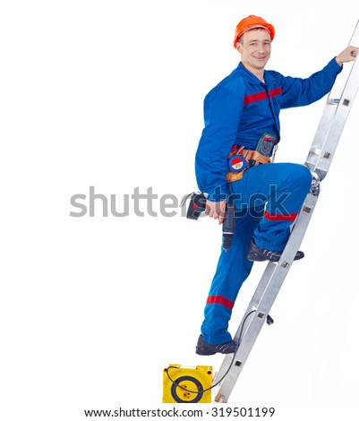 Technician engineer with equipments on the stapladder against white background - stock photo