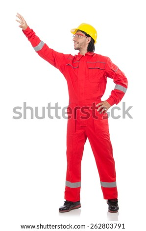 Technician in orange overall isolated on white - stock photo