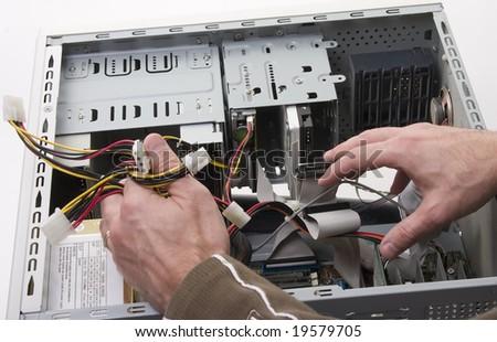 technician repairing computer - stock photo