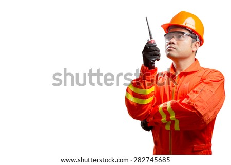 technician with radio communication in action isolated on white background with clipping path - stock photo