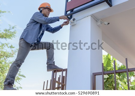 technician work action orient the camera cctv