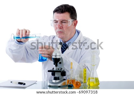 technician working at laboratory - stock photo