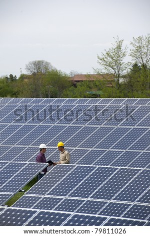Technicians inspection at Solar Power Station