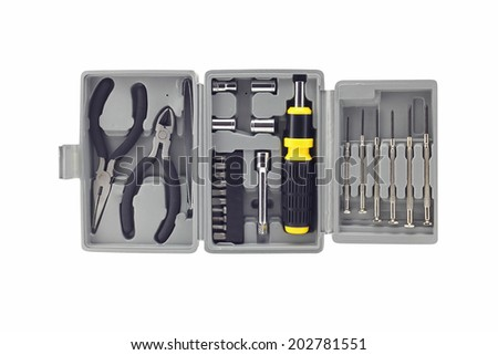 Technicians toolbox  grey portable for ease of use. Isolated on white background