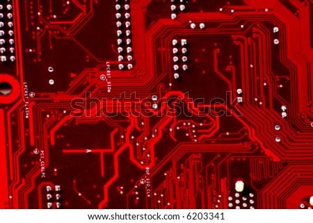 Technics background: computer circuit board - stock photo
