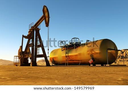 Technique for oil and cisterna in the desert. - stock photo