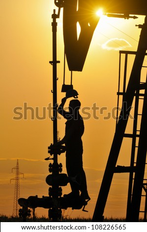 Technique for oil in a landscape - stock photo