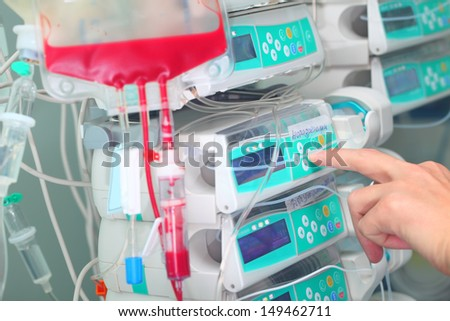 technique in hospital - stock photo