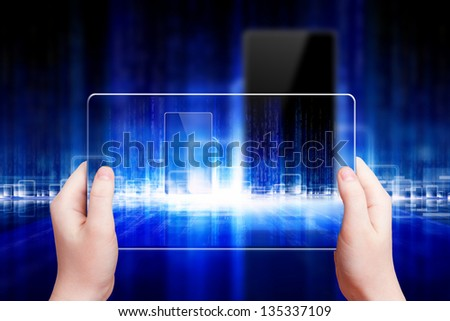 Techno background, abstract transparent smartphone in hands, multimedia gadget, augmented reality