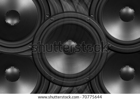 Techno background - low-frequency loudspeaker - stock photo