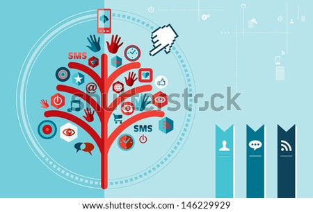 Techno cloud computing tree concept banner. - stock photo