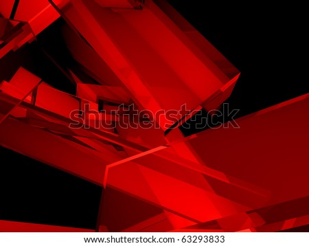 Techno fantasies Abstract 3d illustration in red and black - stock photo