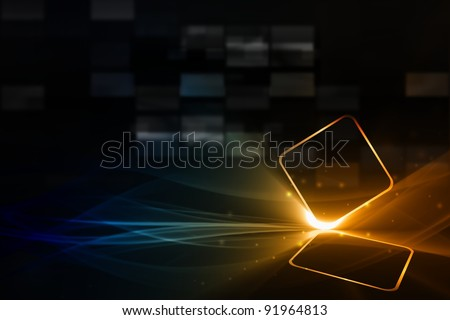 Technological background - abstract mobile device with transparent touch-sensitive screen - stock photo