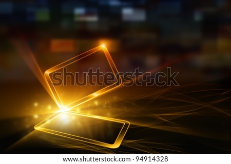 Technological background - abstract mobile device with transparent touch-sensitive screen. Overheating problem. - stock photo