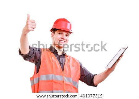 Technological development in company. Young handsome man worker in safety vest and hard hat with tablet. Repairman inspector at work isolated on white. - stock photo