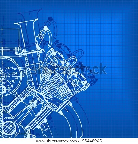 Technology abstract background. Drawing engine. Raster version.The original is also available in my gallery - stock photo
