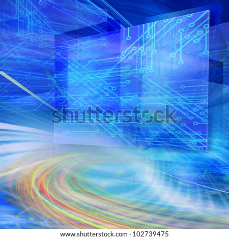 Technology abstract illustration of floating displays with electronic circuits and fiber optics in blue  background, illustrating data speed transfer and futuristic communications and connectivity - stock photo