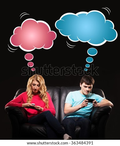 Technology addicted teenagers having a lack of real socialising. Comics concept.