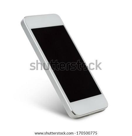 technology and advertisement concept - white smarthphone with black blank screen - stock photo