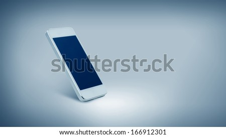 technology and advertisement concept - white smarthphone with white blank screen - stock photo