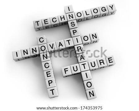Technology and innovation crossword concept.