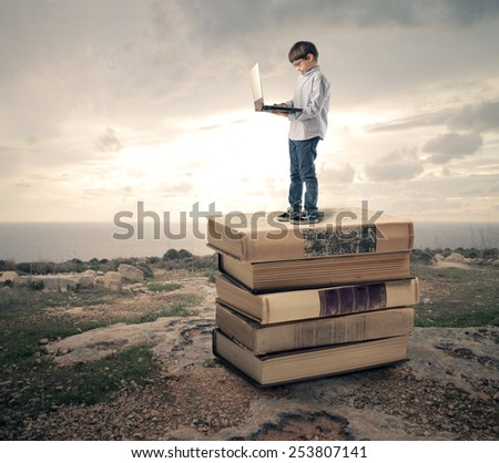 Technology and knowledge  - stock photo