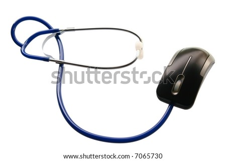 Technology and medicine - Stethoscope and of mouse lying on white background