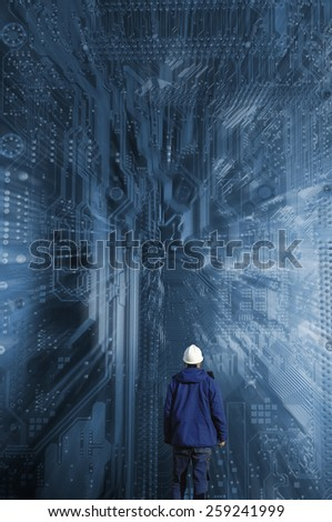 technology and science, circuit-board and engineer in futuristic concept - stock photo