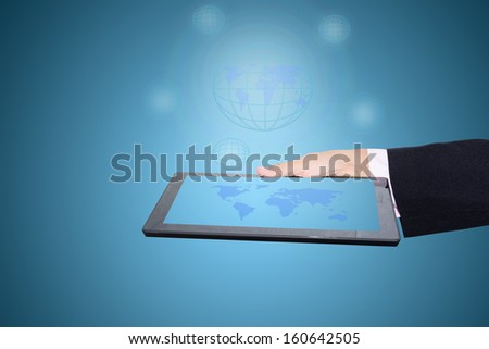 Technology and Tablet in the hands of businessmen.