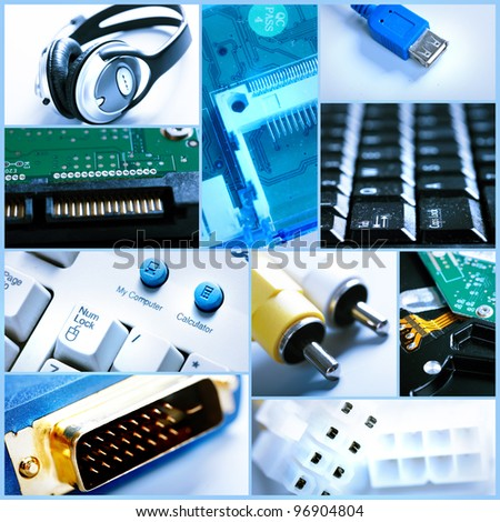 Technology background collage. Computer internet. - stock photo