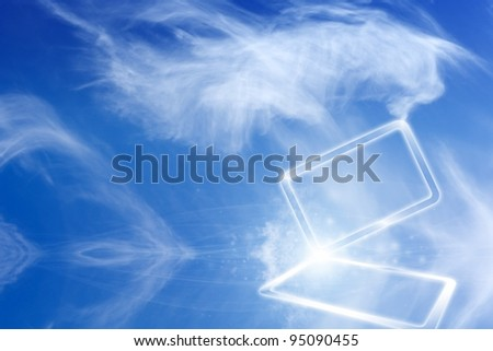 Technology background - concept of cloud computing. Abstract tablet PC in blue sky with white clouds.