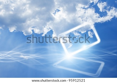 Technology background - concept of cloud computing. Abstract tablet PC in blue sky with white clouds. - stock photo