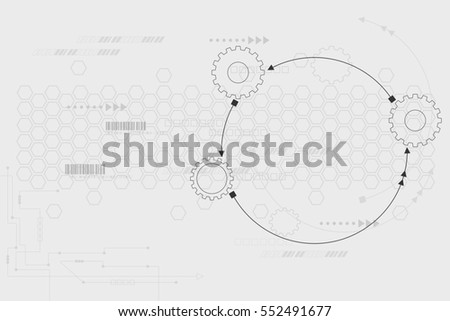 technology background 3d white paper gear stock illustration, Presentation templates