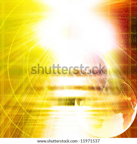 technology background in the colours red and yellow - stock photo