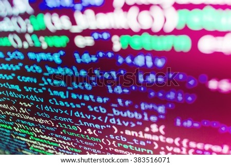 Technology background. Source code photo. Writing program code on computer. Programmer workplace. (Code is my own property there is no risk of copyright violations) - stock photo