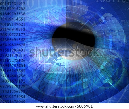 Technology background with iris being scanned and faint digital globe - stock photo
