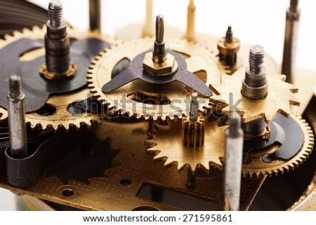 Technology background with metal gears and cogwheels - stock photo