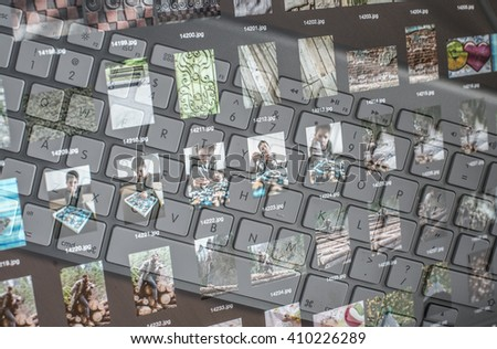 Technology background with photos and keyboard. Blended images - stock photo
