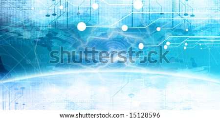 Technology banner on a bright blue background