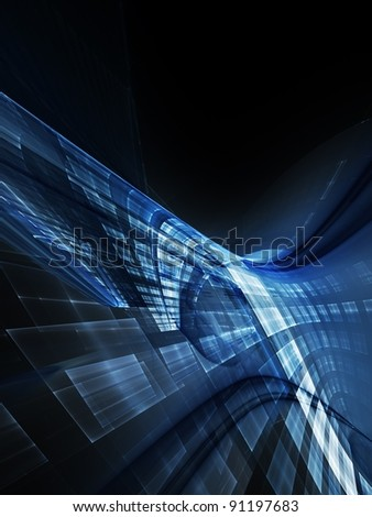 Technology blue and black background - stock photo