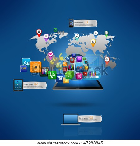 Technology business concept, Creative network,with colorful application icon - stock photo