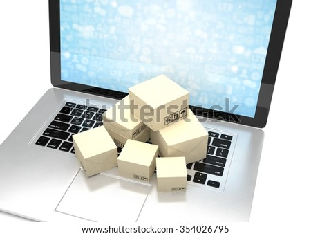 Technology business concept, shipping: cardboard package boxes on laptop