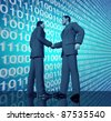 Technology business deal with a handshake between two businessmen with blue binary digital code in the background negotiating a contract agreement in the world of high tech and computers. - stock photo