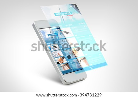 technology, business, electronics, internet  and mass media concept - white smarthphone with world news web page on screen - stock photo