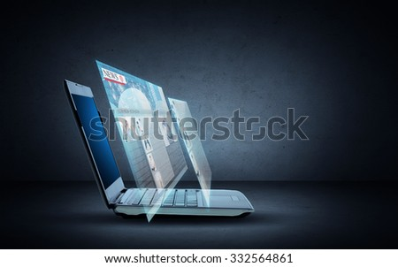 technology, business, news and mass media concept - open laptop computer with web page projection over dark gray background - stock photo