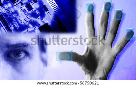 Technology collage depicting tech biometrics - stock photo
