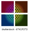 Technology color background in rhombus form on black - stock photo