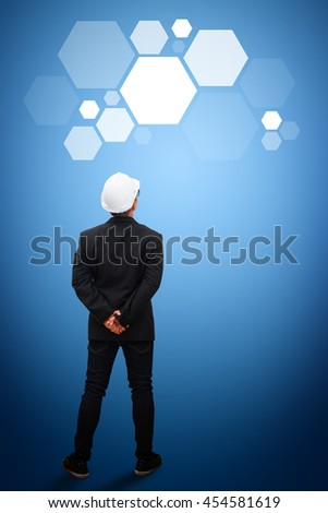 technology communication concept : the engineering with polygon idea - stock photo