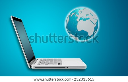 Technology computer laptop and networking concept with map on blue background